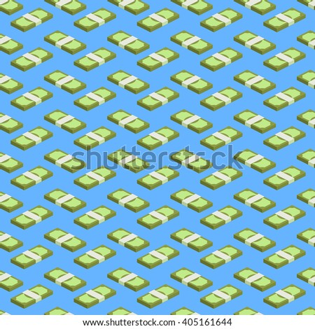 Concept of big money. Big pile of cash. Hundreds of dollars. Money seamless background. Vector isometric illustration. - stock vector