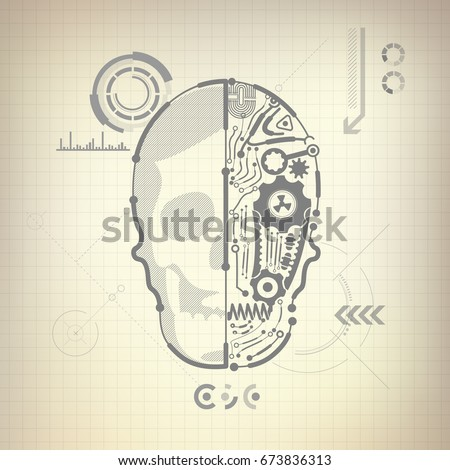 Concept blueprint ai invention robot brain stock vector hd royalty concept of blueprint of ai invention robot brain and skull diagram malvernweather Images