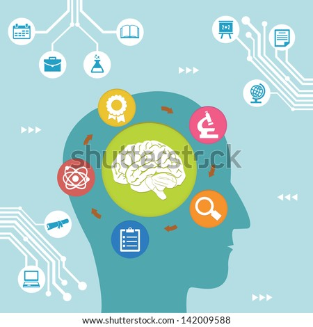 Concept of brain process. Concept of education - vector illustration - stock vector