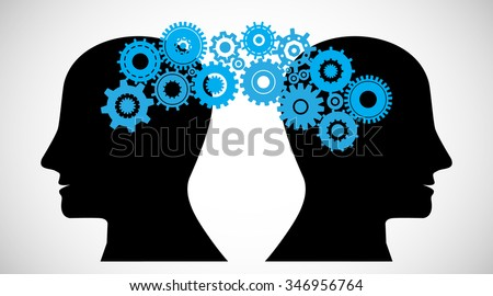 Concept of Brain storming,  Knowledge sharing between to people head, this was shown through cogwheels transferring from one human brain to other, this also represents creative mind, innovation - stock vector