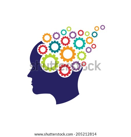 Concept of brain with gears. Vector icon - stock vector