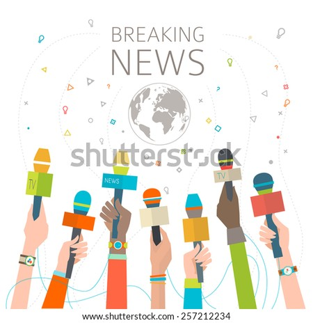 Concept of breaking news / hot news /  multicultural hands and microphone / vector illustration - stock vector
