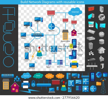 Concept of building a Network diagram, Build your own network diagrams through a complete collection of reusable network symbols available in Flat and 3D  - stock vector