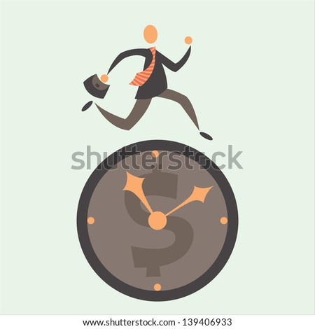 concept of business and time. Watch man with tie. Vector flat minimalistic illustration