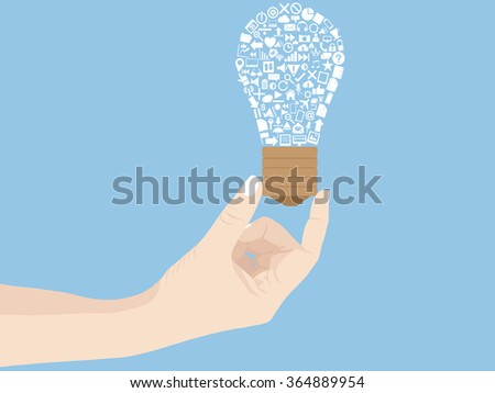 Concept of Business cartoon hand holding creative light bulb idea, Vector Illustration EPS 10. - stock vector