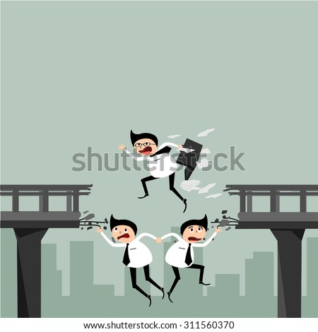 Concept of business, he worked as a team  through the challenges. - stock vector