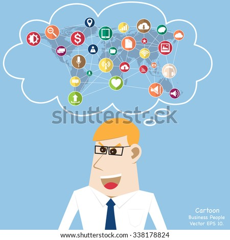 Concept of Business Technology Solution with World Map Globe cloud computing concept with Web icons, Business icons and Technology icons from human, Vector Illustration EPS 10. - stock vector