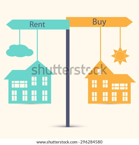 Concept of choice between buying and renting. House symbol vector illustration - stock vector