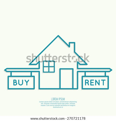 Concept of choice between buying and tenancy. House symbol with pointers and the question - stock vector