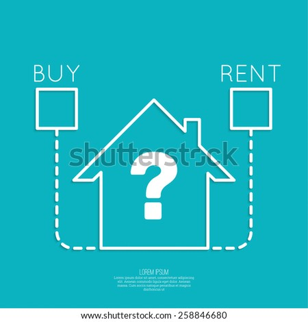 Concept of choice between buying and tenancy. Symbol home with check boxes and question. - stock vector