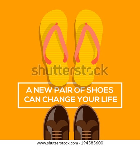 Concept of choices, a new pair of shoes can change your life. Vector illustration.  - stock vector