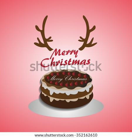 Concept of Christmas celebration, Reindeer horn with brownie cake with Merry Christmas message text. - stock vector