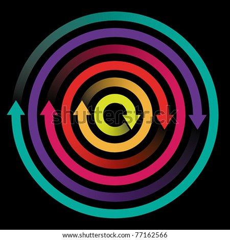 Concept of circulation, rotation with colored arrows, EPS 8, CMYK. - stock vector
