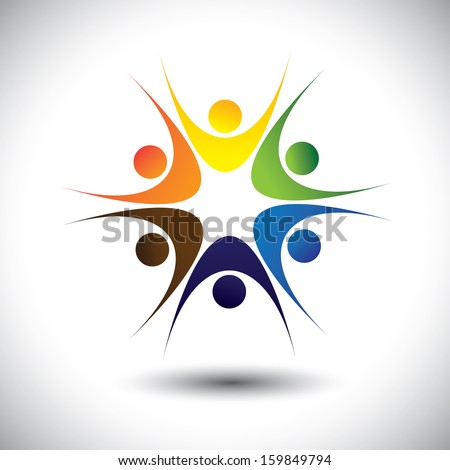 concept of close group of people as a happy lively community. This unusual vector graphic also represents excited people, people dancing, school children or kids playing, colorful employees in circle - stock vector