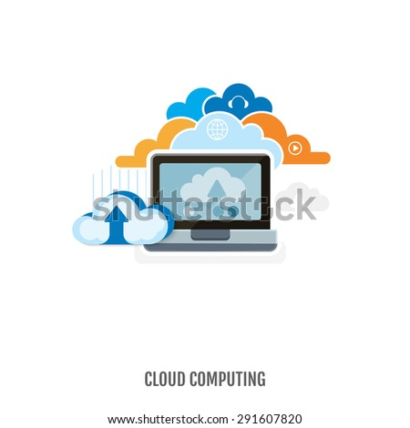 Concept of cloud computing and data storage. Flat design. Vector Illustration. - stock vector