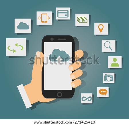 Concept of cloud services on mobile phone such as storage, computing, search, photo album, data exchange. With colorful icons or web buttons around mobile device. Rasterized bitmap version.