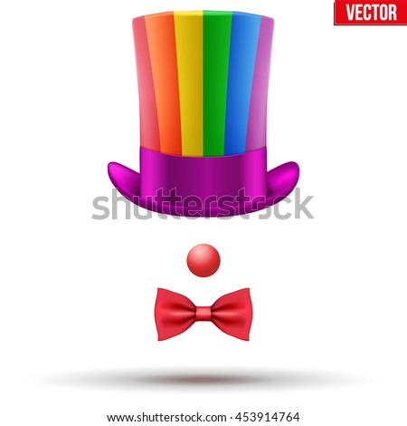 Concept of Clown Symbol. Hat with red nose ant bow tie Vector Illustration isolated on white background. - stock vector