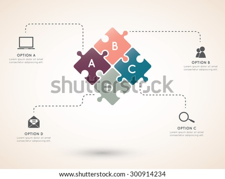 Concept of colorful puzzle pieces with place for your text. Vector illustration for different business design - stock vector