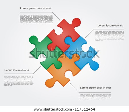 Concept of colorful puzzle pieces with place for yuor text. Vector illustration for different business design - stock vector