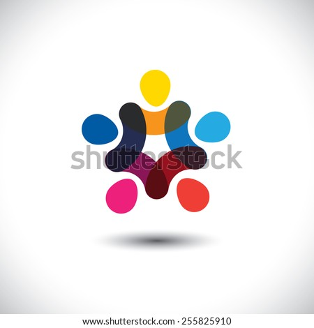 Concept of community unity, solidarity & friendship - vector graphic. This logo template also represents colorful kids playing together holding hands in circles, union of workers, employees meeting - stock vector