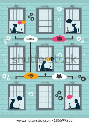 concept of connection and communication - stock vector