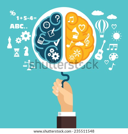 Concept of creative strategy with the human brain  - stock vector