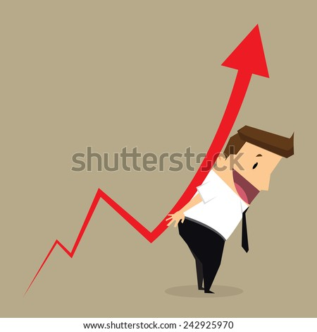 Concept of crisis problems with businessman that helps statistics.vector