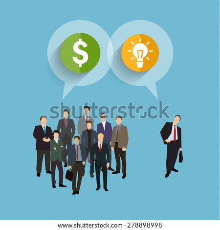 Concept of crowdfunding. A group of business people wearing suits and ties with idea and money. Vector illustration flat design - stock vector