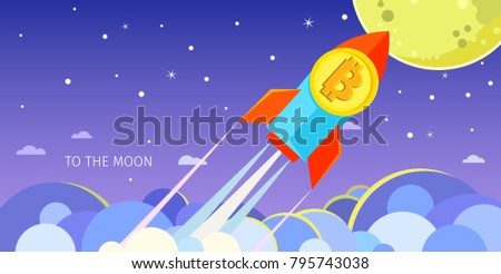 Concept of Crypto-currency. Rocket flying to the moon with bitcoin icon. Crypto currency hype vector illustration.
