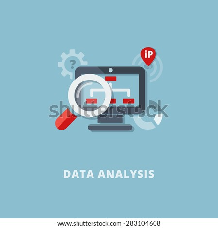 Concept of data analytics and website search optimization. Flat design. Vector Illustration. - stock vector