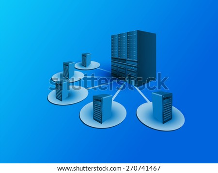 Concept of Data Center Architecture and various systems connecting to a data center for digital storage, load sharing