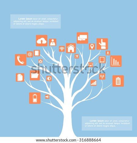 Concept of Dead tree without leave with Vector Web icons, Business icons and Technology icons, Vector Illustration EPS 10. - stock vector