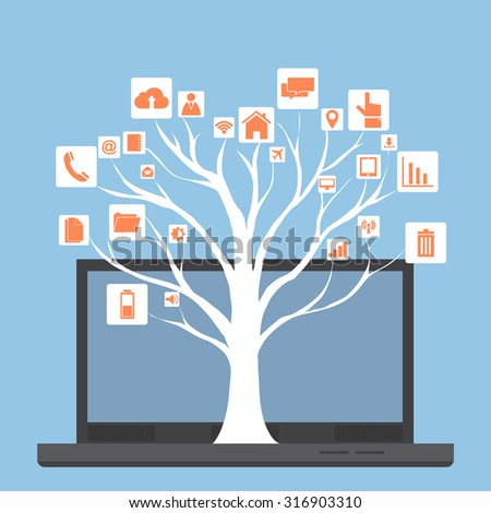 Concept of Dead tree without leave with Vector Web icons, Business icons and Technology icons on laptop computer, Vector Illustration EPS 10. - stock vector