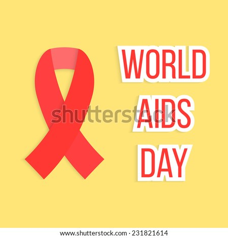 concept of 1 Dec world AIDS day with red ribbon. isolated on yellow background. conceptual global health problem, awareness serious illness and helping sick people. modern vector illustration - stock vector