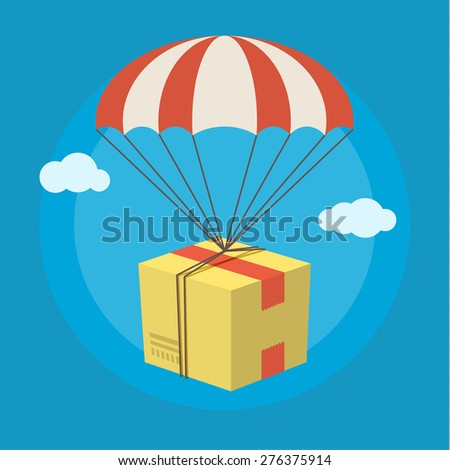 Concept of delivery service. Package flying down from sky with parachute. Flat design colored vector illustration. - stock vector
