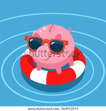 Concept of deposit insurance. Pig piggy bank in the lifebuoy.  Flat design, vector illustration. - stock vector