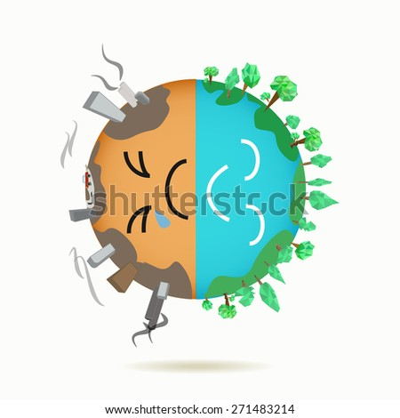 concept of different types planet earth green and the polluted land - stock vector