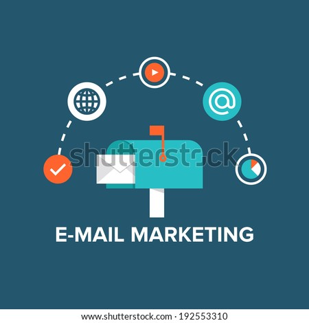 Concept of direct digital marketing, e-mail advertising communication, newsletter promotion campaign. Flat design style modern vector illustration concept. Isolated on stylish background.   - stock vector