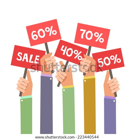Concept of discount. A lot of hands holding placards with sales. Colorful Vector Illustration in flat style isolated on white. - stock vector