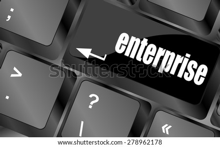 concept of e-commerce or ecommerce, enterprice, with message on computer keyboard. vector