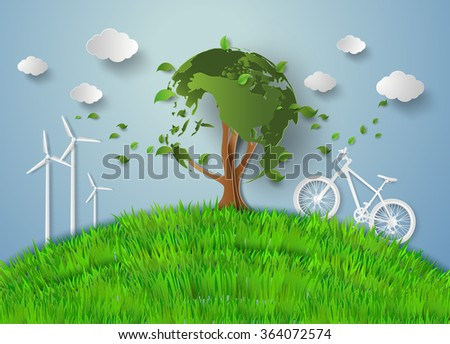 concept of eco .paper cut style - stock vector