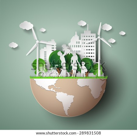 concept of eco with family.paper cut style - stock vector