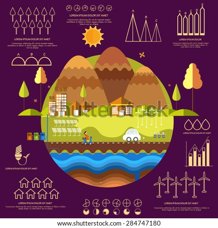 Concept of ecological infographic elements with creative illustration of a urban city and various statistical graphs and charts on purple background. - stock vector