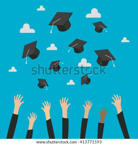 Concept of Education. Graduates Throwing Graduation Hats in the Air. Celebration Education Graduate Student Success. Flat design, vector illustration.