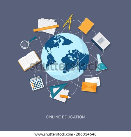Concept of  education site, banner with globe, book, copybook, calculator, loupe, envelope  - eps 10 - stock vector