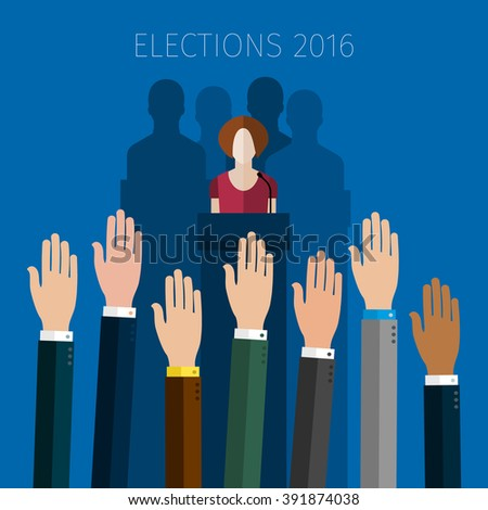 Concept of election. Hands raised up, election day campaign. Flat design, vector illustration. - stock vector