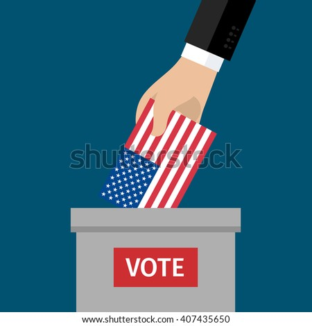 Concept of election. US Presidential election 2016. Hand putting voting paper in the ballot box. Flat design, vector illustration. - stock vector