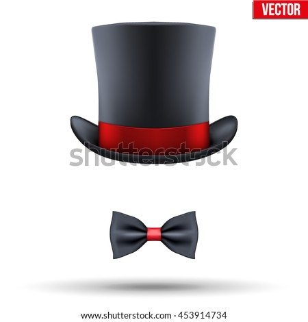 Concept of entertainer and master of ceremony Symbol. Hat cylinder with bow tie Vector Illustration isolated on white background.