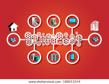 Concept of ESB red background  - stock vector