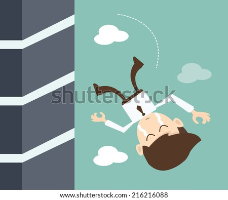 Concept of failure of a businessman due to crisis - stock vector